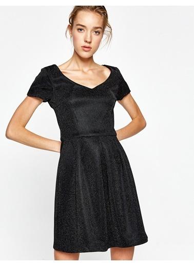 V Yaka Triko Elbise-Koton
